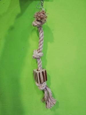 Juguete loro cuerda trozo madera 48 cm
