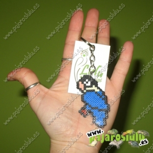 Llavero Agapornis Personata azul